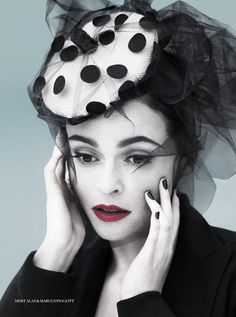 brilliant large polka-dot veiling. love this look. (also, HBC makes a delightfully fragile-looking HBIC here. never a foot wrong, this girl.)