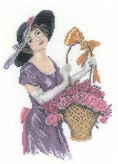 0 point de croix lady with a basket of flowers 1 - cross stitch