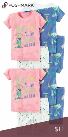"""4-Piece Snug Fit Neon PJs In coordinating prints, this 4-piece neon set includes two tops and two shorts that can be mixed and matched for a variety of comfy bedtime options! Carter's cotton PJs are not flame resistant. But don't worry! They're designed with a snug and stretchy fit for safety and comfort.  4-piece set No-pinch elastic waistband Ribbed necklines Tacked satin bows Sugar glitter screen-printed """"HULA ALL DAY SLEEP ALL NIGHT"""" graphic Allover prints Carter's Pajamas Pajama Sets"""