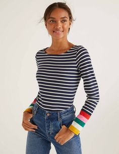 Womens Ladies BODEN Striped Long Sleeve Breton Top Navy Multi Cuff Size UK 12 #Boden #Pullover #CasualTravel