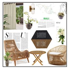 """""""outdoor chairs"""" by jess-za ❤ liked on Polyvore featuring interior, interiors, interior design, home, home decor, interior decorating, Elrene Home Fashions, T.U.K., Cane-line and Three Birds Casual"""