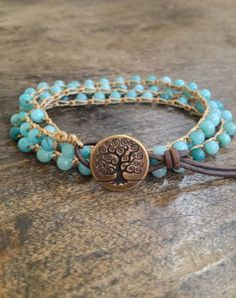 Tree of Life, Crochet Multi Wrap Leather Bracelet, Anklet, Necklace Boho Chic., via Etsy.