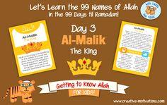 Tariq Teaches: Allah's Names - Day 3 - Al-Malik Islamic Alphabet, Beautiful Names Of Allah, Allah Names, Islam For Kids, Arabic Lessons, Islamic Studies, Name Day, Islamic Teachings, Class Decoration
