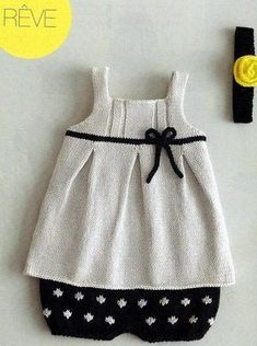 Modèle robe à noeud en coton layette, with the bloomers and a headband with a yellow rose! Knitting For Kids, Baby Knitting Patterns, Crochet For Kids, Baby Patterns, Crochet Baby, Knit Baby Dress, Knitted Baby Clothes, Baby Sweaters, Girls Sweaters