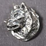 Siberian Husky silver PENDANT head flat with open mouth