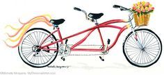 Hand painted bicycle built for two with basket full of roses and streamers flying by @Michelle Mospens