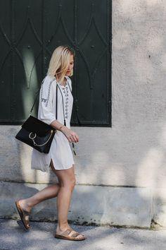 tifmys – Chloé Faye bag, Céline knot bracelet, Larsson&Jennings watch, Zara tunic dress & Birkenstock Arizona sandals.