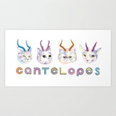 Cantelopes Art Print by MSCH Design - $18.99 #illustration #cats #animals #type