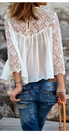 Top chemisier blouse dentelle crochet daisy Modèle LOVELY SUMMER DAISY BLOUSE HOLLOW
