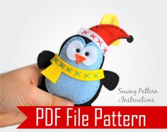Felt Penguin Christmas Ornament Sewing pattern - PDF