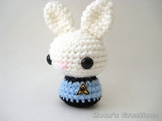 Mr. Spock Moon Bun - Amigurumi Star Trek Vulcan Bunny Rabbit (this doll will be available as a made to order purchase at Moon's Creations)