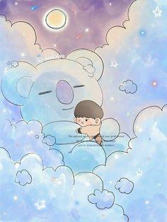 Cloud series with - Namjoon and Koya Bts Chibi, Bts Cute, Bts Lyric, Bts Drawings, Album Bts, Bts Lockscreen, Kpop Fanart, Foto Bts, Bts Pictures