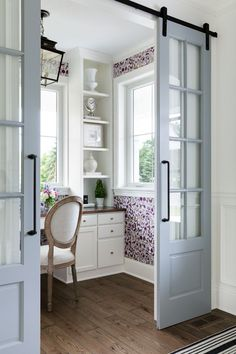 Grey Sliding Barn Doors, Paint Color Is Sherwin Williams SW 7066 Grey  Matters. Office NookHome ...
