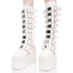 60e74f0bb82 Demonia White Trinity Boots ( 115) ❤ liked on Polyvore featuring shoes