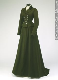 "A green wool suit made (circa 1900) for Miss Winnifred Marler of Montreal, by the ""Ladies and Gentlemen's Tailor"" firm in St. Pierre, Quebec. (image © by the McCord Museum of Montreal History)"