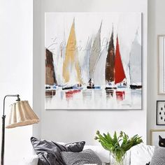 Online Shop Hand painted boat Canvas Oil painting Wall Pictures for Living room wall decor art canvas painting palette knife boat 46 Sailboat Art, Sailboat Painting, Sailboats, Home Decor Pictures, Living Room Pictures, Wall Pictures, Painting Pictures, Room Wall Decor, Living Room Decor