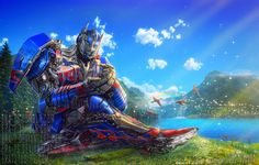 I do not own this art but oh my goodness Optimus is sooooo cute and adorable in this pic. He is like a big gentle giant and I love him!