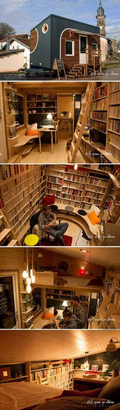A traveling tiny house bookstore from France!
