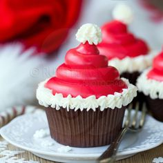 Christmas Santa hat cupcakes - Royalty Free Stock Photo