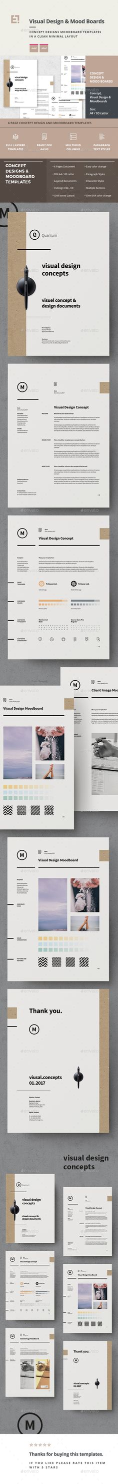 Concept Design Mood Board Templates by egotype Concept Design and Moodboard Templates in DIN A4 and US Letter size Inspire yourself or your team with these handy, printable mood