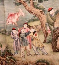 Chinese New Year wallpaper - boys with goldfish kite Silk Wallpaper, Hand Painted Wallpaper, Metallic Wallpaper, China For Kids, Chinese New Year Wallpaper, Wide World, Chinese Culture, Chinese Painting, Goldfish
