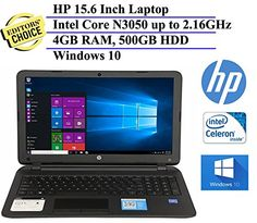 2016 HP 15.6 Inch Notebook Laptop Computer (Inte Celeron N3050 Processor up to 2.16GHz, 4GB Memory, 500GB Hard Drive, DVD/CD Drive, HD…
