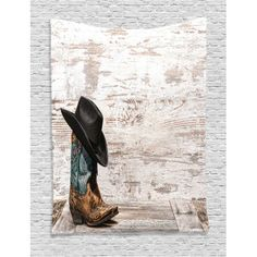 Western Decor Wall Hanging Tapestry, Traditional Rodeo Cowboy Hat And Cowgirl Boots In A Retro Grunge Background Art Photo, Bedroom Living Room Dorm Accessories, By Ambesonne Cowgirl Boots, Cowboy Hats, Dorm Accessories, Retro Home Decor, Western Decor, Traditional Decor, Tapestry Wall Hanging, Rodeo, Photo Art