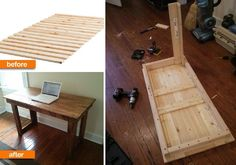 ikea bed slats into a desk
