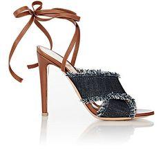 Gianvito Rossi Denim & Leather Ankle-Wrap Sandals - Sandals - Barneys.com