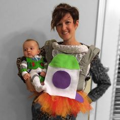 Pin for Later: 42 Adorable Halloween Costumes For Baby-Wearing Parents Buzz Lightyear Cute Baby Halloween Costumes, Toddler Costumes, Baby Costumes, Halloween Kids, Halloween Parties, Halloween 2020, Baby Skunk Costume, Baby Carrier Costume, Baby Pokemon