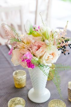Bright Tropical Florals in Milk Glass Vase | Modern Charleston Wedding at The Historic Rice Mill by Charleston Wedding Planner ELM Events