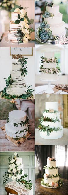 Greenery wedding cakes #weddings #greenweddings #weddingideas #rusticwedding ❤️ http://www.deerpearlflowers.com/greenery-wedding-cakes/