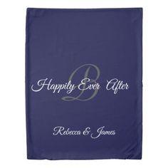 Happily Ever After Monogram Navy Blue Duvet Cover Blue Duvet, Honeymoon Gifts, Say Bye, Bedspreads, Happily Ever After, Keep It Cleaner, Duvet Covers, Navy Blue, Monogram