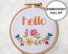 Hand Embroidery Kits Jewellery Gifts & Home par TheEmbroideryCart Diy Embroidery Kit, Embroidery Hearts, Learn Embroidery, Modern Embroidery, Embroidery For Beginners, Floral Embroidery, Embroidery Patterns, Art Mural Floral, Gifts Love