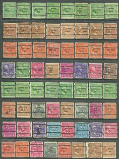 US Defitives of 64 stamps precancel  2¢, 4¢, 6¢ 7¢ 1938 -39 Presidential Series