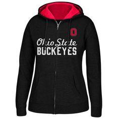 Ohio State Buckeyes Women's Black Essential Script Arch & Logo Full-Zip Hoodie