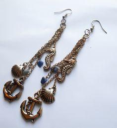 Little Mermaid Earrings, Mermaid Earrings, Seahorse Earrings, Shell earrings, Chain Earrings, Dangle Earrings, Costume earrings, Cosplay - pinned by pin4etsy.com