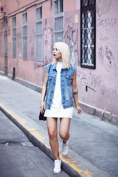 casual style | white dress with jeans vest | street style from Budapest | via Masha Sedgwick