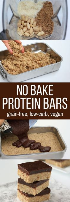 These Homemade Protein Bars are sugar-free soy-free grain-free dairy-free and egg-free but loaded with yumminess! Stop spending a fortune on store-bought bars and make your own vegan protein bars instead:)! No Bake Protein Bars, Vegan Protein Bars, Protein Bar Recipes, Protein Snacks, Snack Recipes, Homemade Protein Bars, Gluten Free Protein Bars, Protein Breakfast, Low Calorie Protein Bars