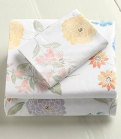 280-Thread-Count Pima Cotton Percale Sheet, Fitted Floral: Fitted Sheets | Free Shipping at L.L.Bean