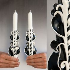 Taper candles  Candle set  Carved candles  Black by primacandle, $17.00