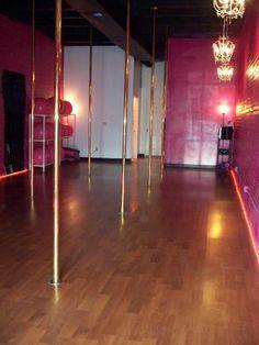 Private stripper pole in living room