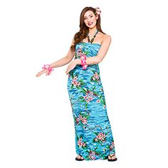 nice Ladies Hawaii Blue Palm Dress Includes dress only Ankle lengt Tropical Party Outfit, Beach Party Outfits, Hawaiian Costume, Hawaiian Luau, Hawaiian Dresses, Vestido Maxi Floral, Plus Size Maxi Dresses, Mini Dresses, Beach Dresses
