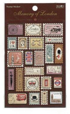 Memory of London Stamp Sticker - Stationery Heaven - http://www.stationeryheaven.nl/stickers