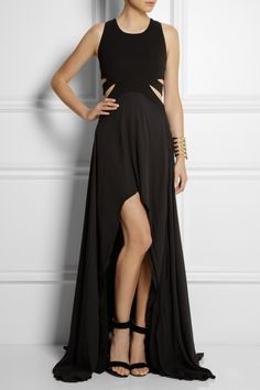 Jay Ahr Cutout Jersey-Crepe and Silk-Georgette Gown. Open Back. Sleeveless. High-Low. Black. [January 2014]