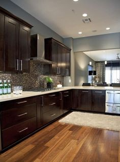 Espresso cabinets & blue gray walls. Love everything about this kitchen!!!!