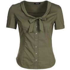 Morgan Blouse ($43) ❤ liked on Polyvore featuring tops, blouses, shirts, blusas, olive, olive green blouse, military green shirt, pattern shirt, v neck shirts and v neck collared shirt