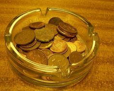 Re-purposed ashtray as change holder