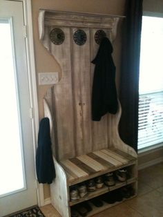 A Pictures Of The Hall Tree That I Made Out Of An Old Set Folding Closet  Doors. I Removed The Plywood, Jigsawed It, Routered It, And Used It As The  Side.