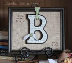 DIY wedding gift from DIY kinda girl Diy Monogram, Monogram Frame, Monogram Wedding, Wooden Monogram, Craft Gifts, Diy Gifts, Diy Craft Projects, Diy And Crafts, Decor Crafts